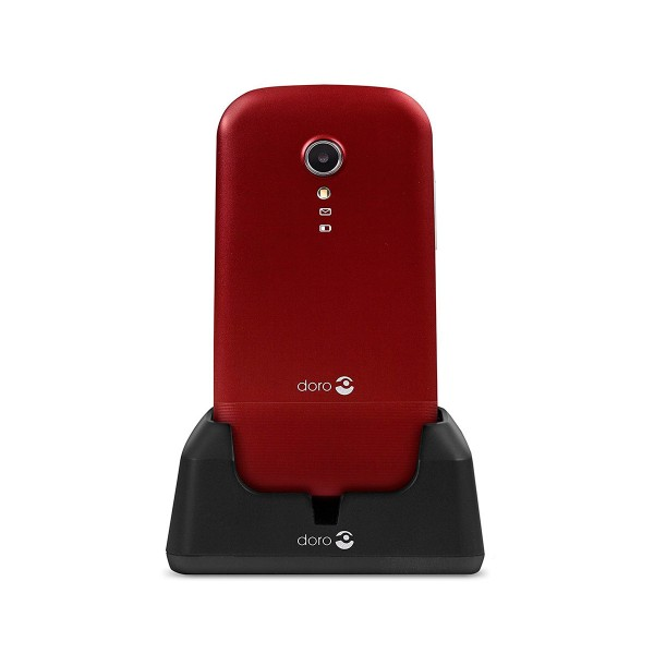 Doro primo 2404 rojo blanco móvil senior dual sim 2.4'' cámara 0.3mp bluetooth radio fm micro sd incluye base de carga