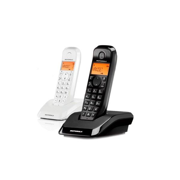 Motorola s1202 blanco negro duo teléfono inalámbrico contestador automático manos libres 50 contactos