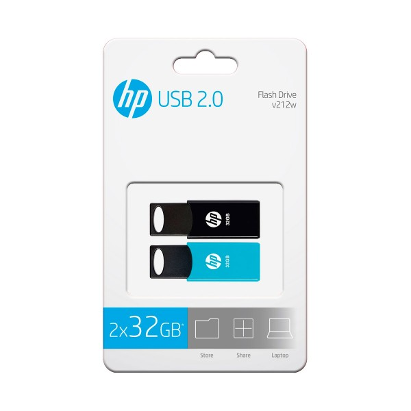 Hp hpfd212-32-twin negro azul pack 2 unidades memoria flash usb 2.0 pendrive 32gb