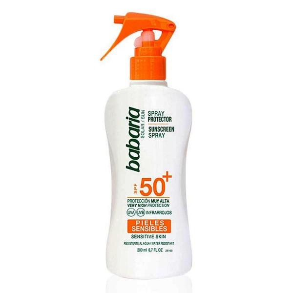 Babaria solar spray spf50+ piel sensible waterproof 200ml vaporizador