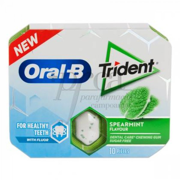 ORAL-B TRIDENT CHICLES SPEARMINT 10 U