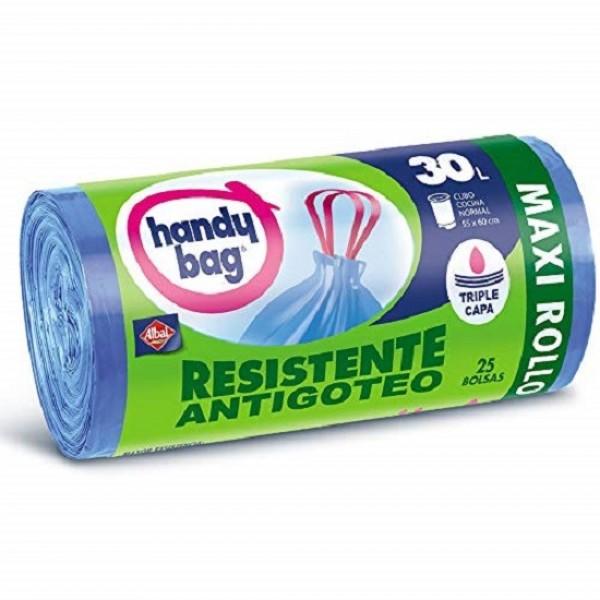Handy bag bolsas basura resistente maxi rollo  25 u  30l