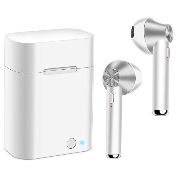 Akashi altsilearb earbuds wireless blanco plata auriculares inalámbricos bluetooth con estuche batería
